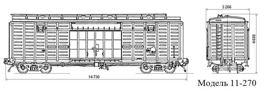 Крытый вагон. Модель 11-270