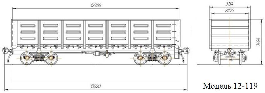 Полувагон. Модель 12-119